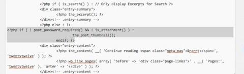 アイキャッチ画像位置変更/content.phpのコード貼付け完了画像