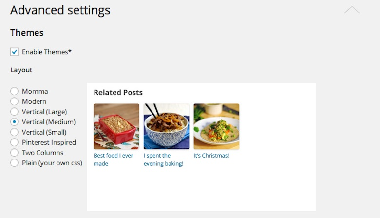 """Related Posts""の設定/Advanced settings/Themes"