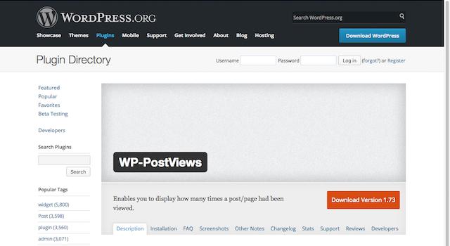 WP-PostViews:プラグインページ