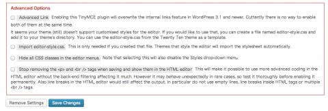 TinyMCE Advancedの詳細設定(Advanced Options)